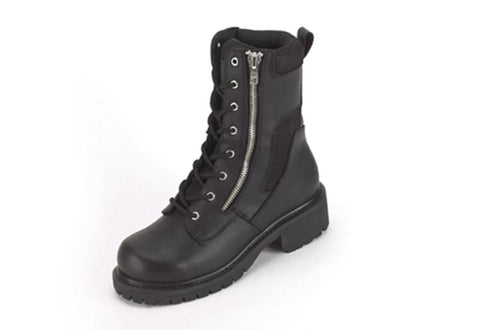 Biker Boots With Lace Up Front & Side Zipper