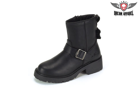 Biker Boots With Strap At Ankle & Zipper On Side