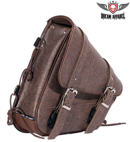 Brown PVC Solo Swing Arm Bag Left Side