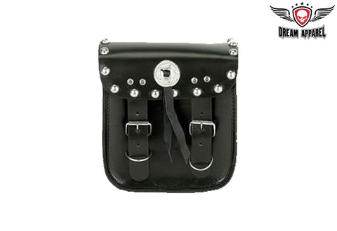 PVC Motorcycle Sissy Bar Bag With Studs & Concho