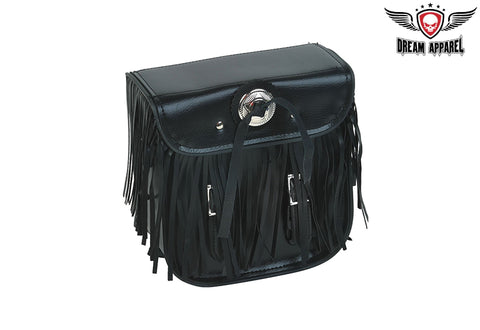 Leather Motorcycle Sissy Bar Bag With Fringes, & Concho