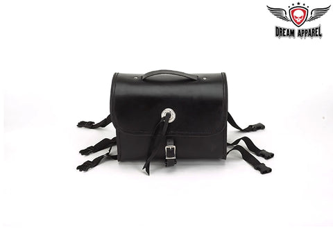 Plain Leather Motorcycle Sissy Bar Bag
