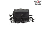 Leather Motorcycle Sissy Bar Bag With Braid, Fringe & Concho