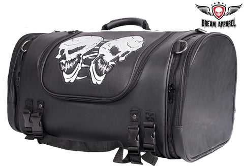 Motorcycle Sissy Bar Bag / Trunk With Skull