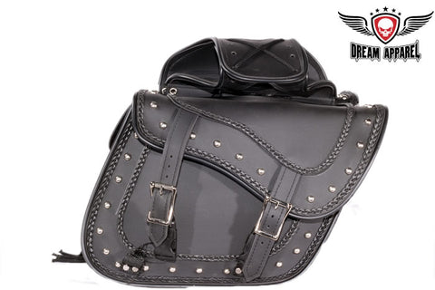 PVC Motorcycle Saddlebag With Braid & Studs