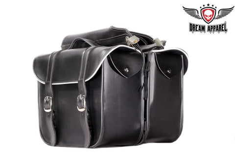 Leather Motorcycle Saddlebag With Light Reflector