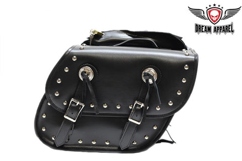 PVC Motorcycle Saddlebag With Studs & Lock