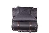 PVC Motorcycle Saddlebag With Studs & Brown Straps