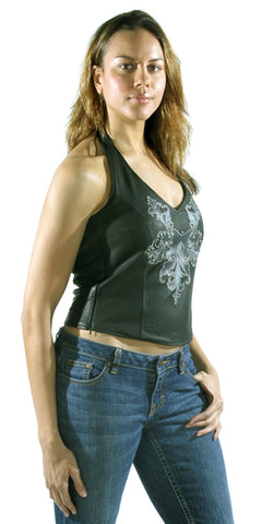 Womens Leather Halter Top Vest  With Studs