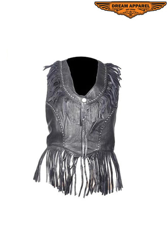 Womens Halter Top With Fringe & Studs
