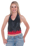 Women Red Flame on Black Halter with Fringe