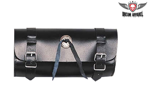 "10"" PVC Motorcycle Tool Bag With Studs & Concho"