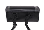 "10"" PVC Motorcycle Tool Bag With Gray Braids & Studs"