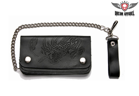 Leather Wallet With Embossed Dragon