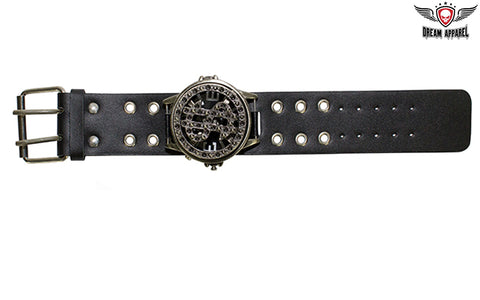 Black Leather Watchband
