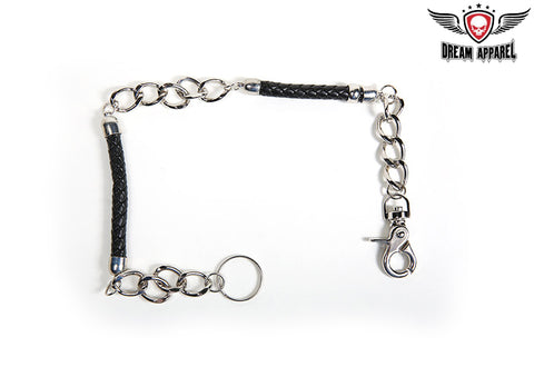 "20"" Biker Wallet Chain With Two Braided Leather Sections"