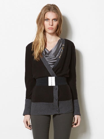 Alexandra Asymmetric Cardi with Stones