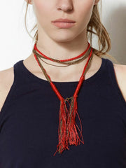 Sadie Chain & Braided Tassle Necklace