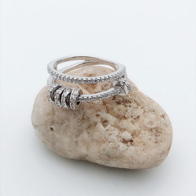 Micropave with Zirconia Stones Double Line Ring with Mini Rings - LovastyleOfficial