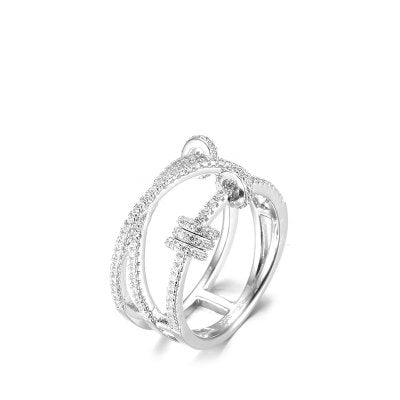 Micropave with Zirconia Trio Ring with Sliding Rings - Lova