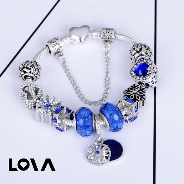 DIY Beaded Blue Artificial Crystal Bracelet - Lova