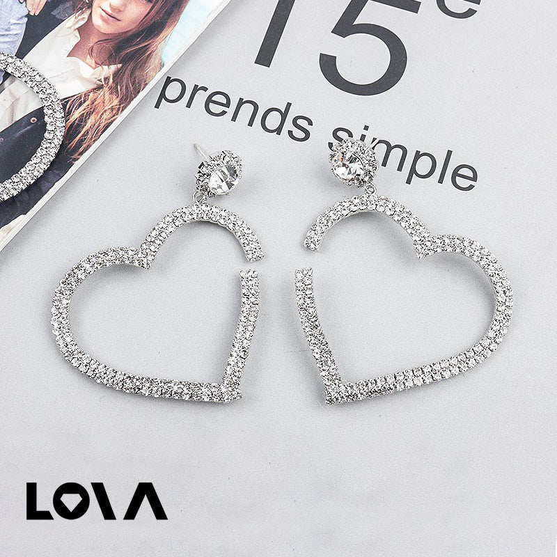 Large Heart Shape Drop Earrings for Women Rhinestone Earrings - Lova