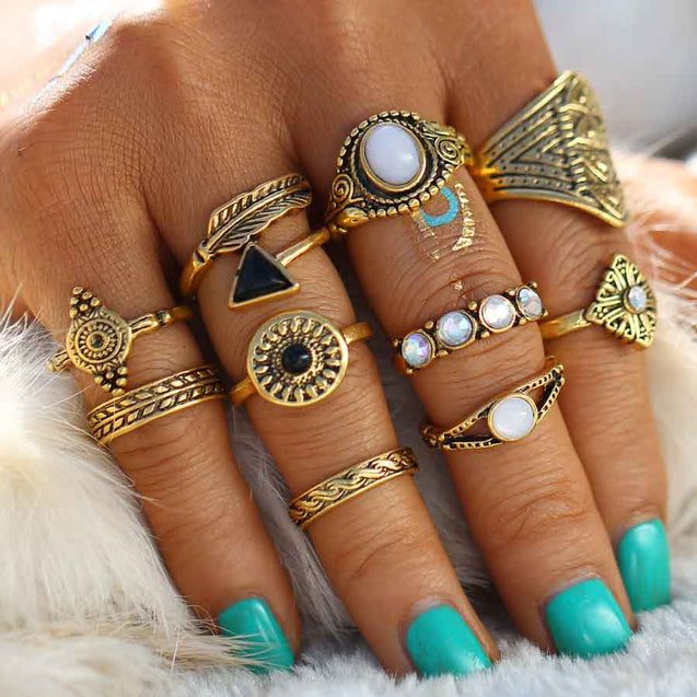10 Pcs Women's Ring Set - Lova