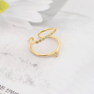 Artificial Crystal Zircon Double Layer Open Ring - Lova