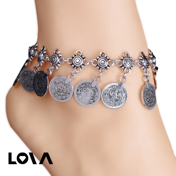 One Piece Coin Tassel Retro Womens Anklet - Lova