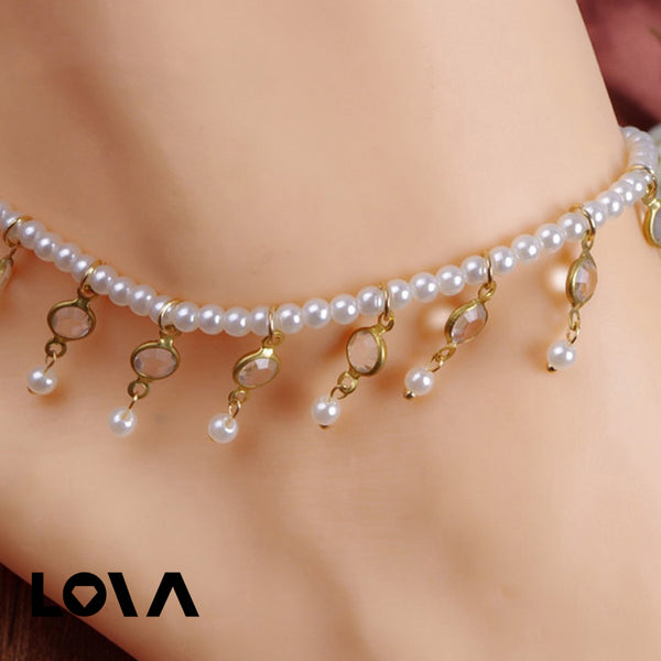 Exquisite Imitation Pearls Artificial Crystal Anklets Chain - Lova