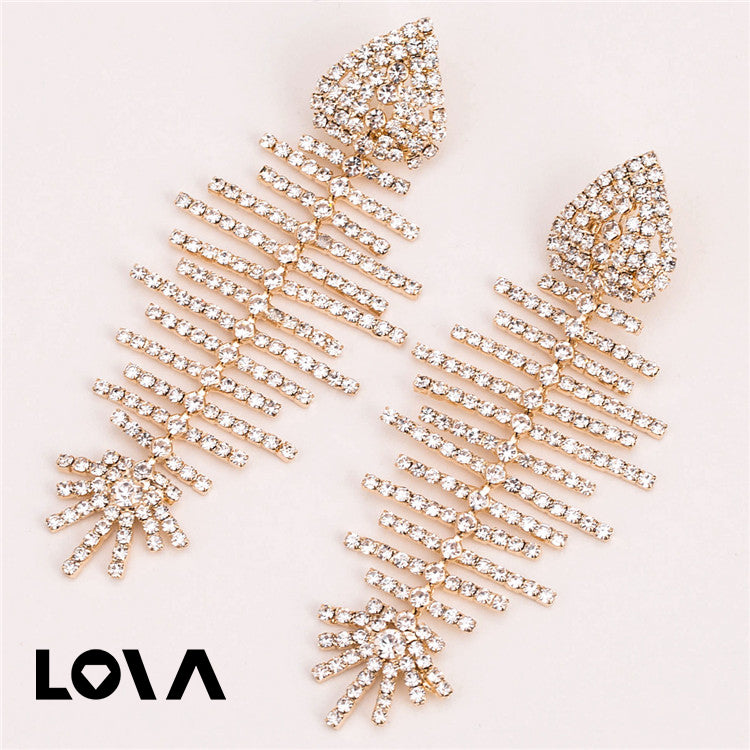 Gold Metal Fish Bone Earring Women Crystal Fish Dangle Earrings - Lova
