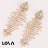 Gold Metal Fish Bone Earring Women Crystal Fish Dangle Earrings - LovastyleOfficial