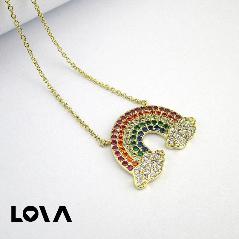 Bohemian Rainbow Color Zircon Charm Chains Necklace Jewelry - Lova
