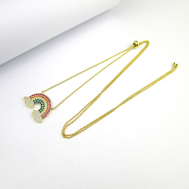 Bohemian Rainbow Color Zircon Charm Chains Necklace Jewelry - LovastyleOfficial