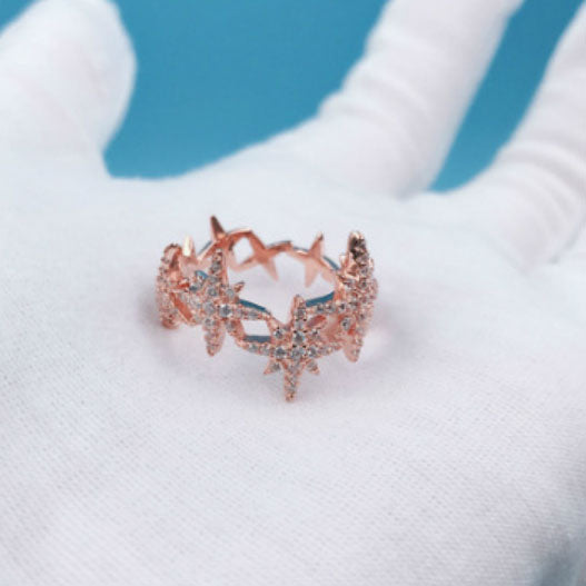 Micropave with Zirconia Stones Ring Multi-Star Ring Women Jewelry