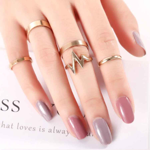Women's Ring Set Flash Shape Solid Color(5Pcs) - LovastyleOfficial