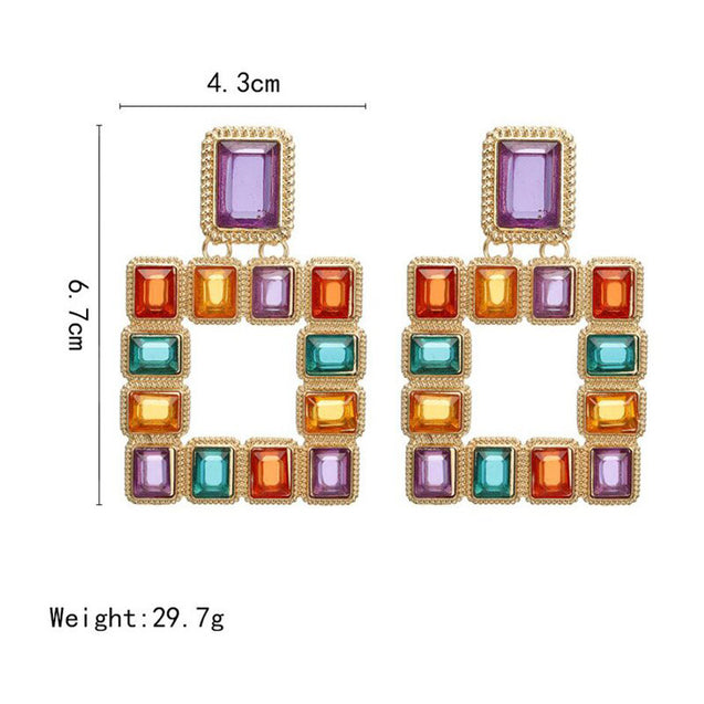 New Square Earrings Color Artificial Crystal Retro Personality Earrings - LovastyleOfficial
