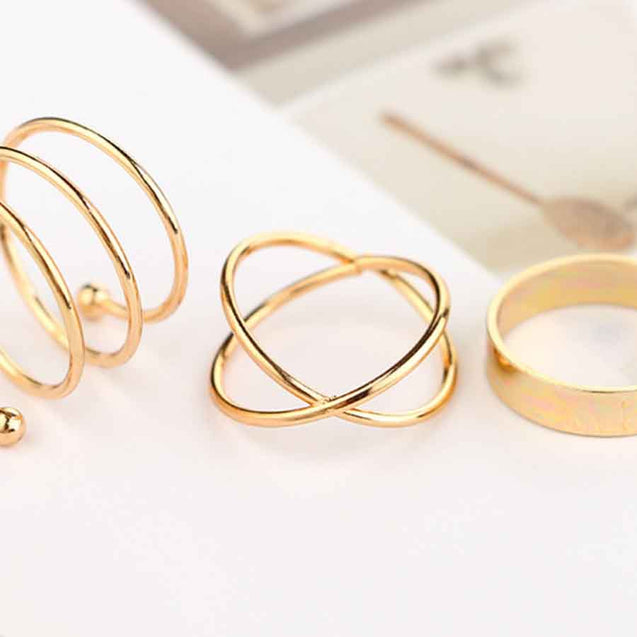 6 Pcs Women's Multi Finger Ring Vintage Simple - Lova