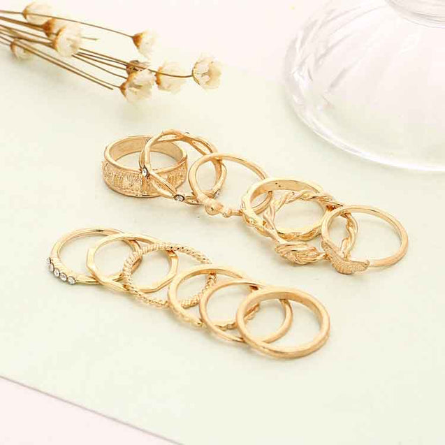 12 Pcs Women's Ring Set Rhinestone Decorative Hollow Out Accessory - Lova