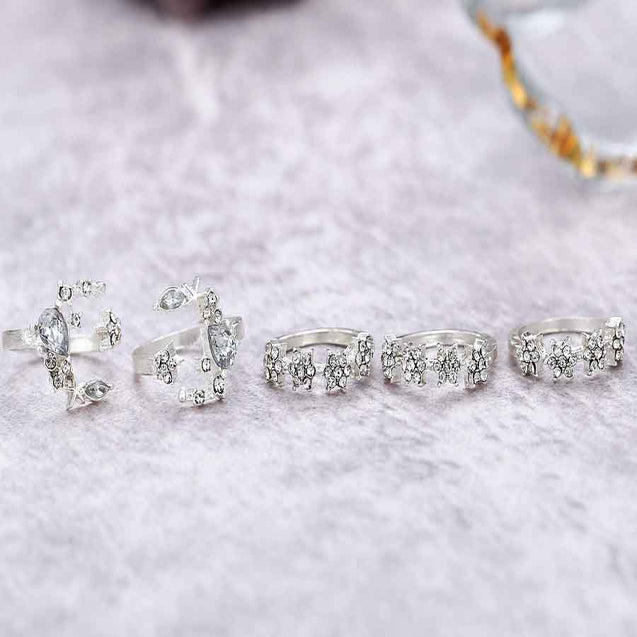 5 Pcs Women's Ring Set Rhinestone Decor Durable Vintage - Lova