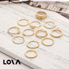 12 Pcs Women's Ring Set Rhinestone Decorative Hollow Out Accessory - LovastyleOfficial