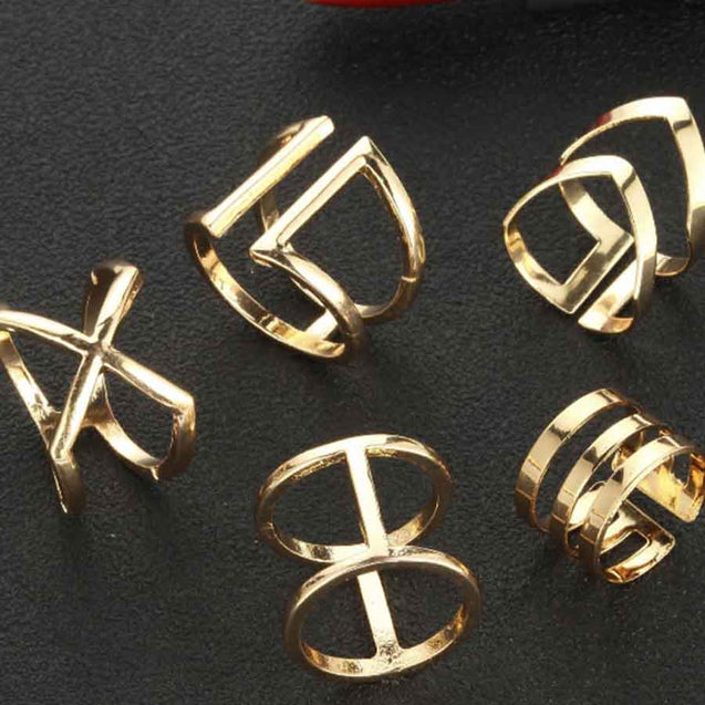5 Pcs Women's Multi Finger Ring Simple Geometry Layering Stylish - Lova