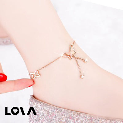 Simple 18K Rose Gold Butterfly Anklet Female Sexy Personality Social Ankle Chain Color Jewelry - Lova