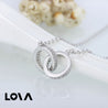 Sterling Silver Artificial Crystal  CZ Double Circle Pendant Short Necklace - Lova