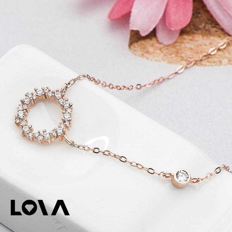 Rhinestone Artificial Crystal  Zircon Ocean Round Circle Necklace - Lova