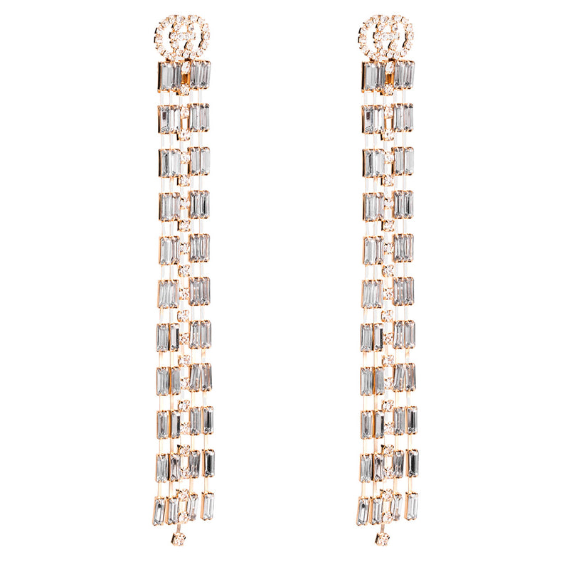 Claw Chain Studded Alloy Tassel Earring - Lova