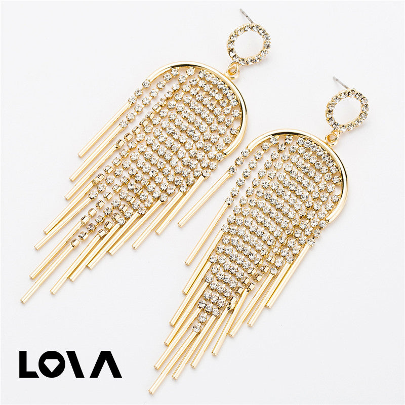 Bohemian Jewelry Shiny Rhinestone Chain Dangle Drop Earrings - Lova
