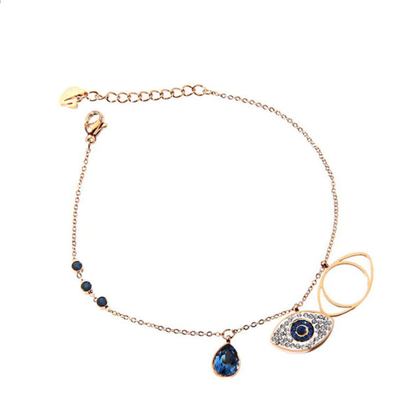 Evil Eye Anklets Bracelet Blue Artificial Rhinestone Chain - LovastyleOfficial