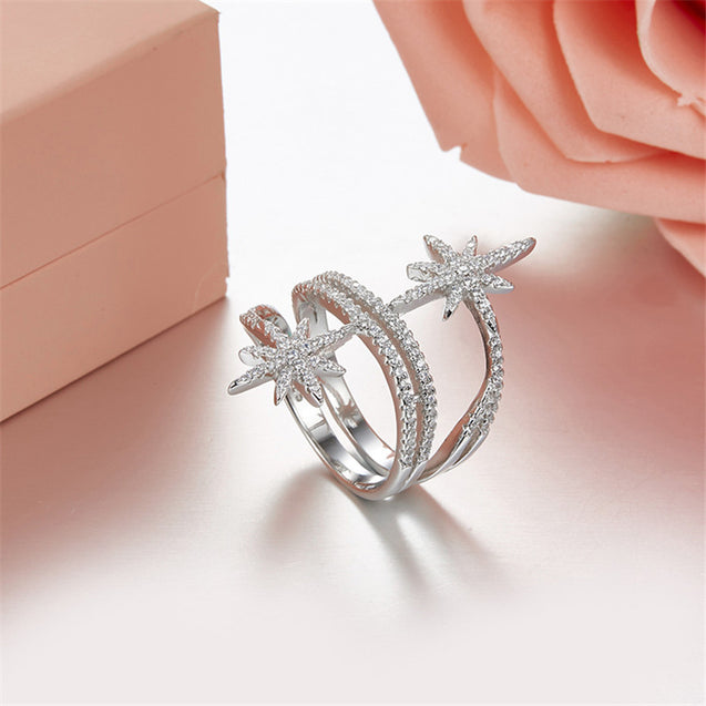 Meteorites Star Finger Rings Zirconia Stones Women Jewelry - Lova