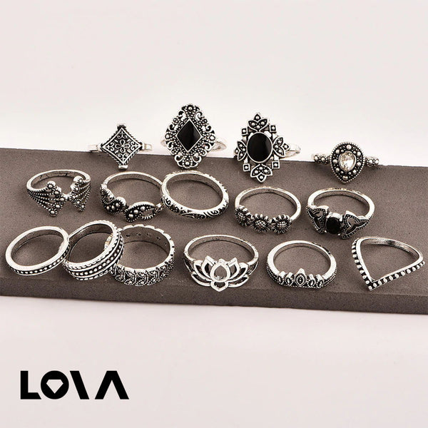 Women's 15 Pcs Ring Set Retro Stylish Hollow Floral Design Ring Suit - Lova